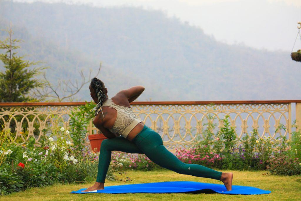 Black lady practicing yoga