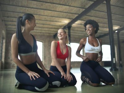 Group of women chatting in yoga